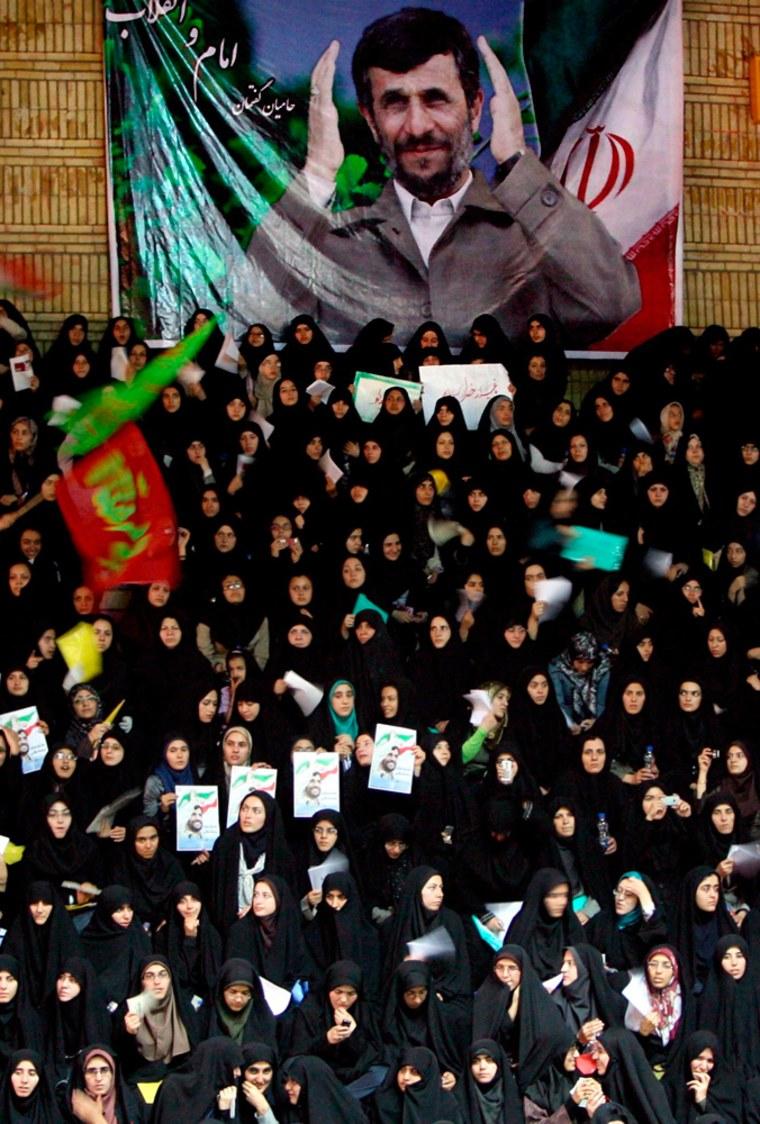 Iranian President Mahmoud Ahmadinejad  election campaign rally