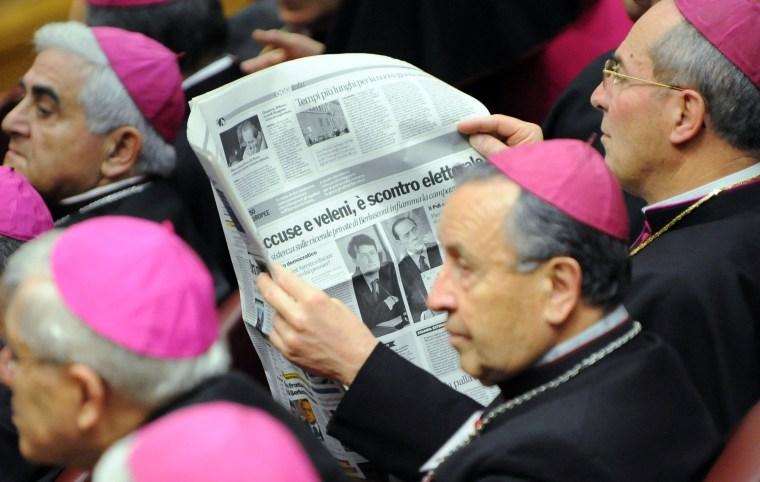 Image: Bishops read news of Berlusconi scandal