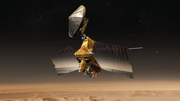 An artist's conception shows NASA's Mars Reconnaissance Orbiter above the Red Planet's surface.