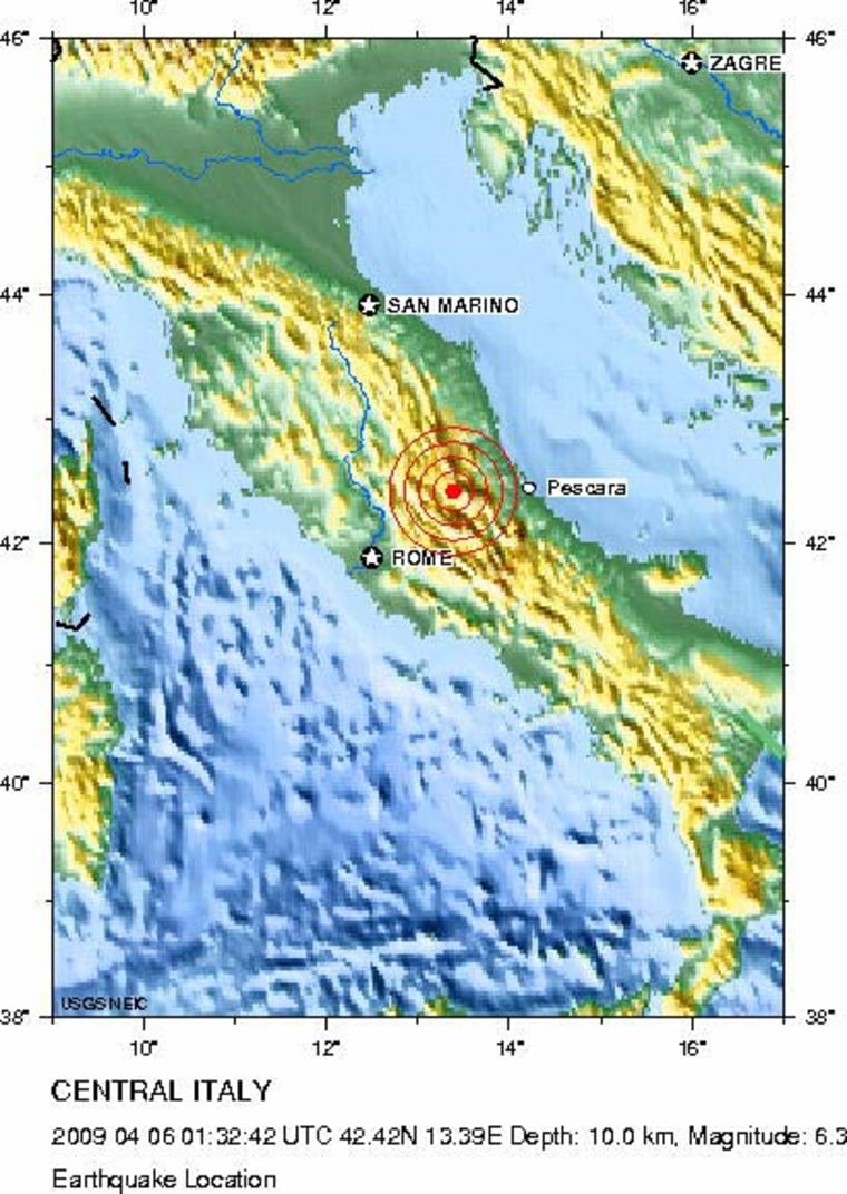 This map shows the epicenter of the quake that struck central Italy at 3:32 a.m. local time on Monday, April 6, 2009. Credit: USGS