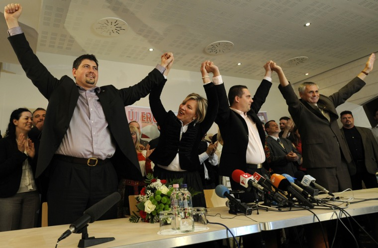 "Image: Members of Hungary's far right wing group ""Jobbik"""