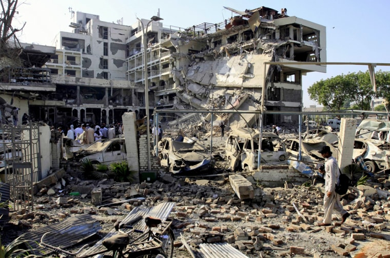 Image: Destruction caused by suicide attack on the Peshawar Pearl Continental hotel