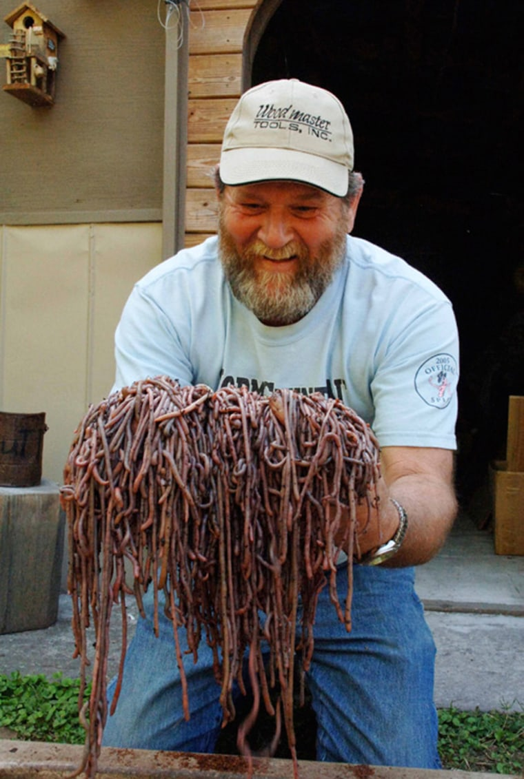 Image: Gary Revell admires the results of a day of worm grunting.