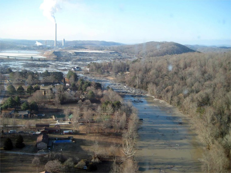 This Jan. 12 photo shows the massive ash spill at the Kingston Fossil Plant in Kingston, Tenn., in Dec. 22, 2008.The spill from the 60-foot-high ash pile sent 1.1 billion gallons of ash and sludge into river inlets and a rural neighborhood.