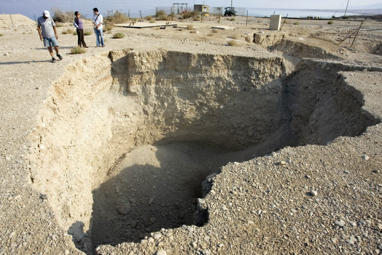 Image: A sinkhole by the shores of the Dead Sea
