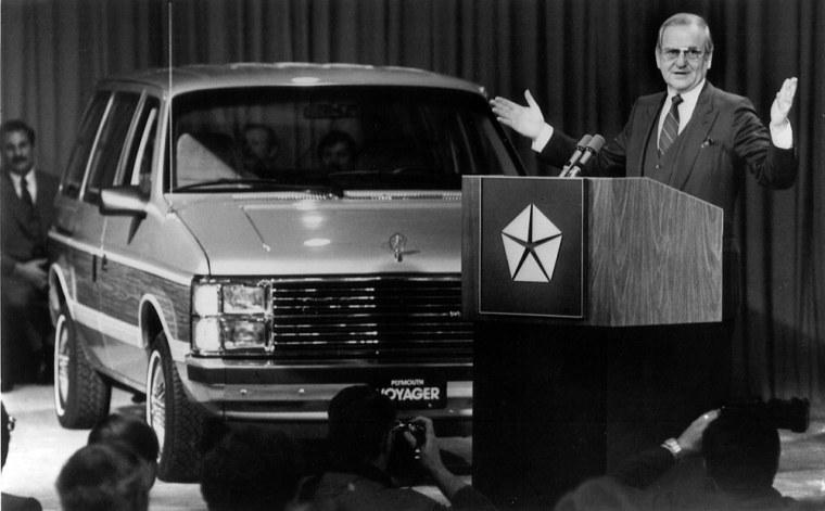 Image: Chrysler chairman Ian Iacocca introduces the Chrysler minivan.