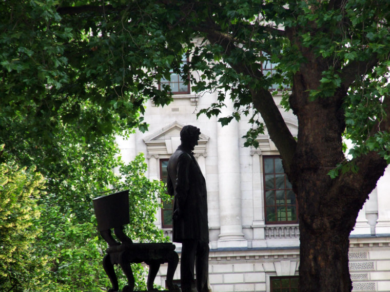 Image:  A statue of Abraham Lincoln looks out over London's Parliament Square