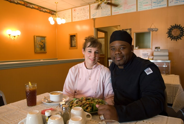 Maggie and Adam Williams in the dining room of Adam's Bistro in Elkhart.
