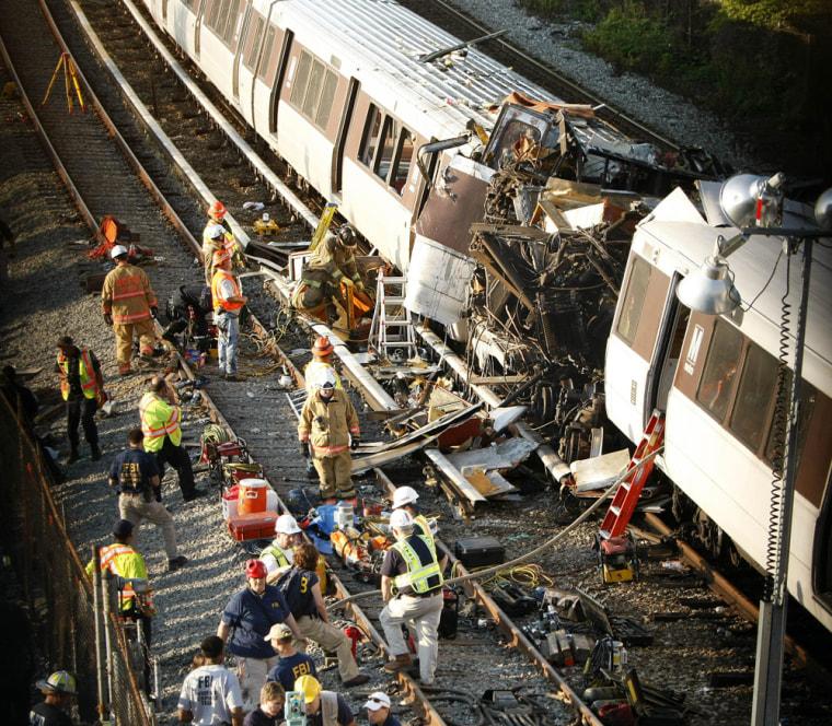 Image: Collision scene of two Metro transit trains