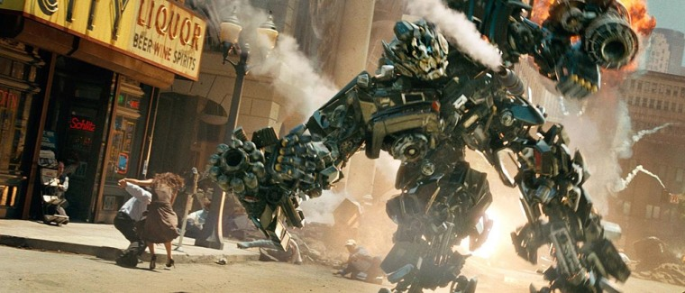 "Robot Ironhide does battle in this scene from the movie ""Transformers: Revenge of the Fallen."""