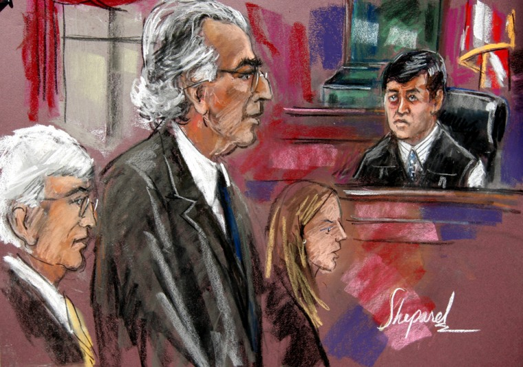 Image: Court artist's sketch shows disgraced financier Madoff attending his sentencing hearing in New York