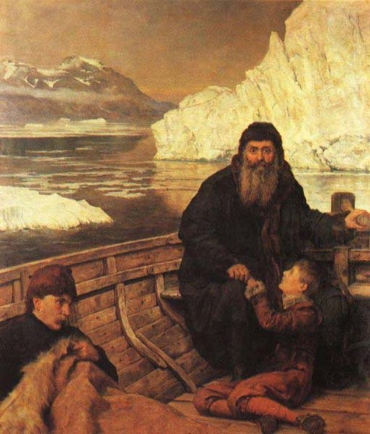 Image: Oil painting of Henry Hudson with his son and crew member