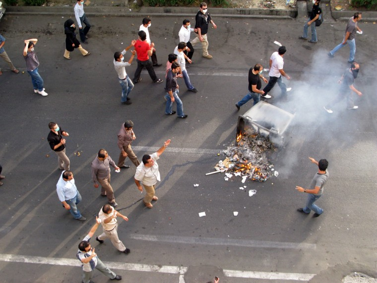 Image: Pro-opposition protestors rally in the streets of central Tehran on July 9.