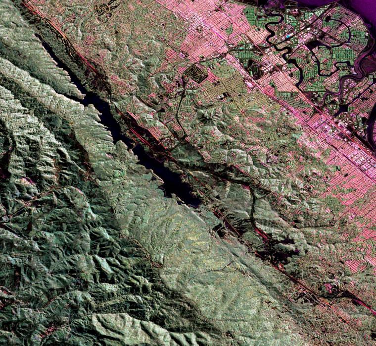 Image: Radar image of San Andreas fault near San Francisco