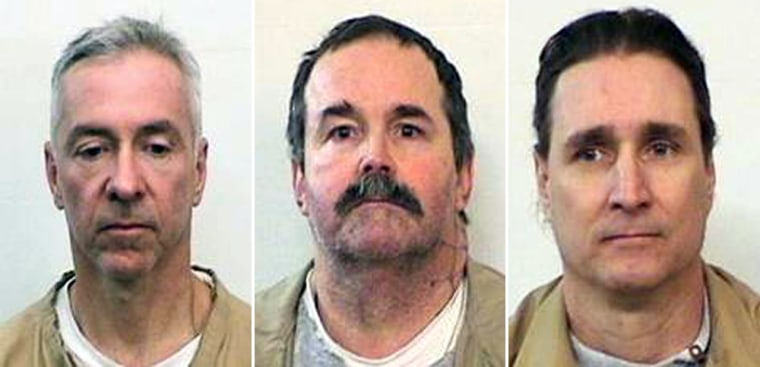 Prison escapees, fromleft,Mark Booher, Charles Smith andLance Battreal were found missing from their units at an Indiana prisonSunday morning.