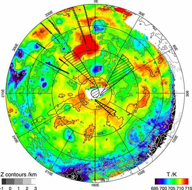 Image: The first temperature map of Venus' southern hemisphere at infrared wavelengths. Higher temperatures (red) correspond to lower altitudes, while lower temperatures (blue) correspond to higher altitudes.