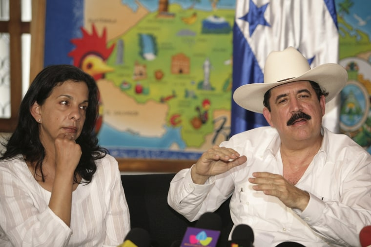 Image: Ousted Honduras President Manuel Zelaya speaks to the media during a news conference in Managua