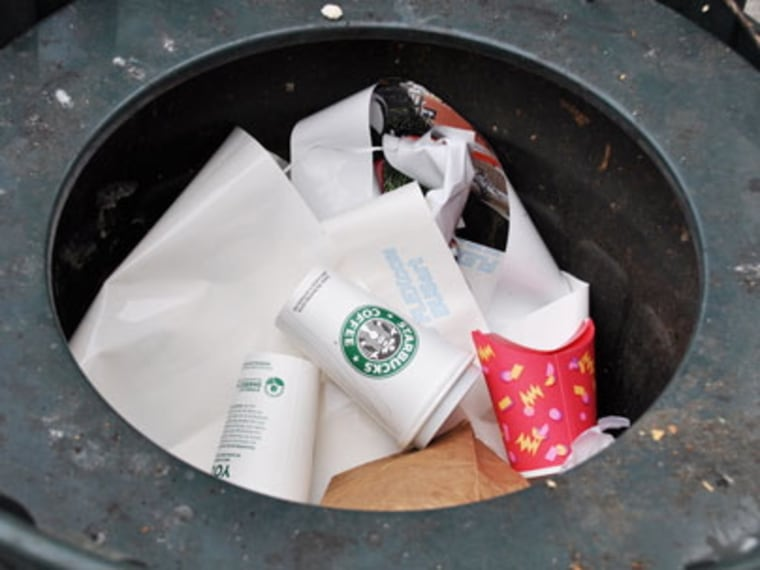 The coffee cup in the middle of this trash bin in Seattle, Wash., was the first piece of trash tracked by MIT.