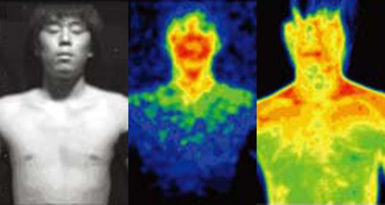 This first image shows one of the test subjects in full light. Throughout the day, the body gives off weak emissions of visible light in totally dark conditions,as the color-coded middle image shows. Therightmostimageof the subject, captured in infrared wavelengths,shows theheat emissions.