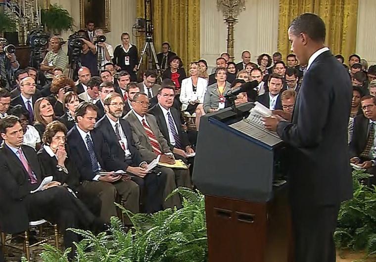 Barack Obama holds a prime-time news conference on health care reform.