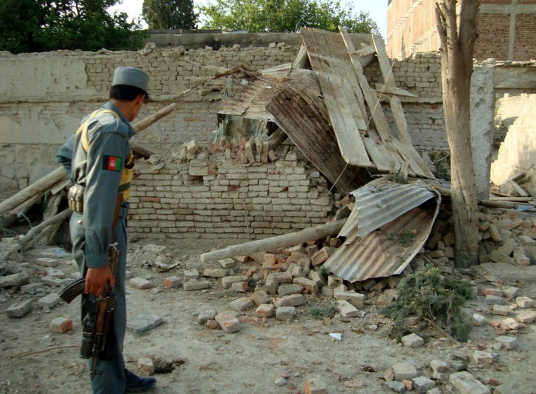 Image: Damage from Taliban attack in Khost, Afghanistan