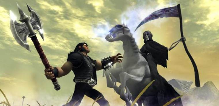 "Image: Eddie Riggs, voiced by actor Jack Black, left, is shown in a scene from the game, ""Brutal Legend."""