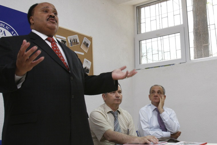 Image: Martin Luther King III, son of  Dr. Martin Luther King Jr., addresses students at Stolac high school,