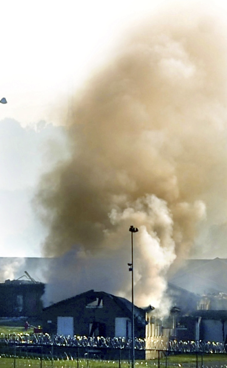 Image: Fires are seen at Northpoint Training Center