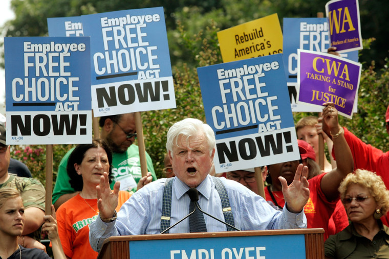 Image: Sen. Ted Kenndy at an AFL-CIO rally on Capitol hill.