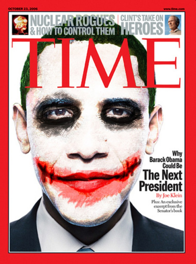 "A couple thousand users viewed the Obama Time magazine cover superimposed with the iconic ""Joker"" look from ""The Dark Knight"" posted on Flickr."