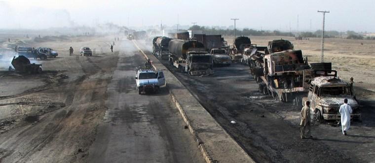 Image: Burnt vehicles along Pakistan-Afghanistan border