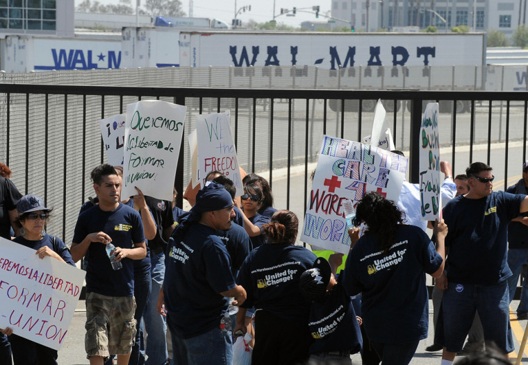 Workers and their supporters protests at