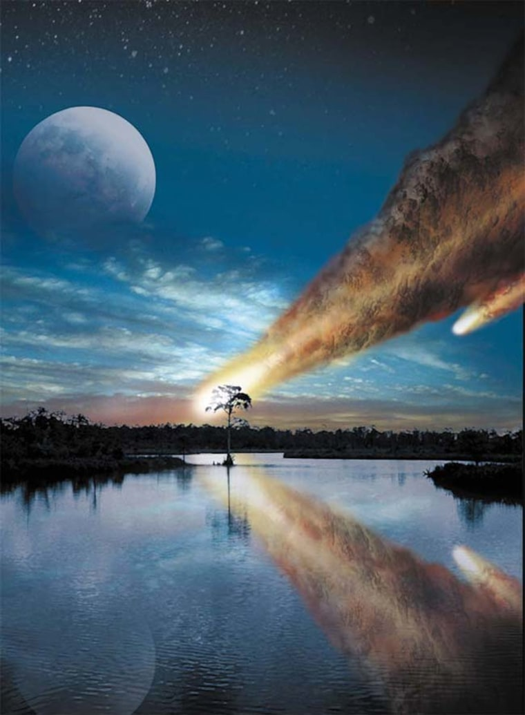 Image: Artist's rendering of a giant asteriod or comet plunging into the Earth