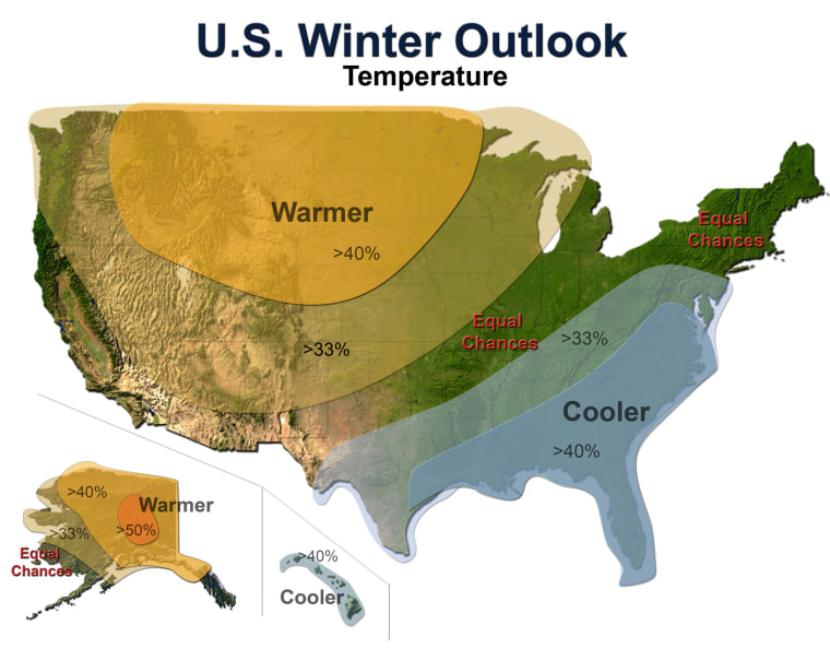 The federal Climate Prediction Center issued this map of predicted temperature trends across the U.S. this winter.