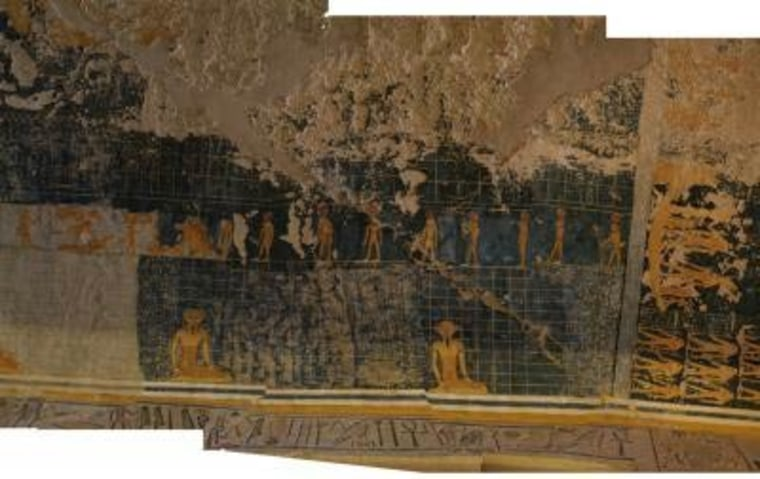 This is a photograph of a damaged ceiling in tomb KV6 in the Valley of the Kings, Luxor, Egypt. The top portion of the image shows areas damaged by water and repaired cracks.
