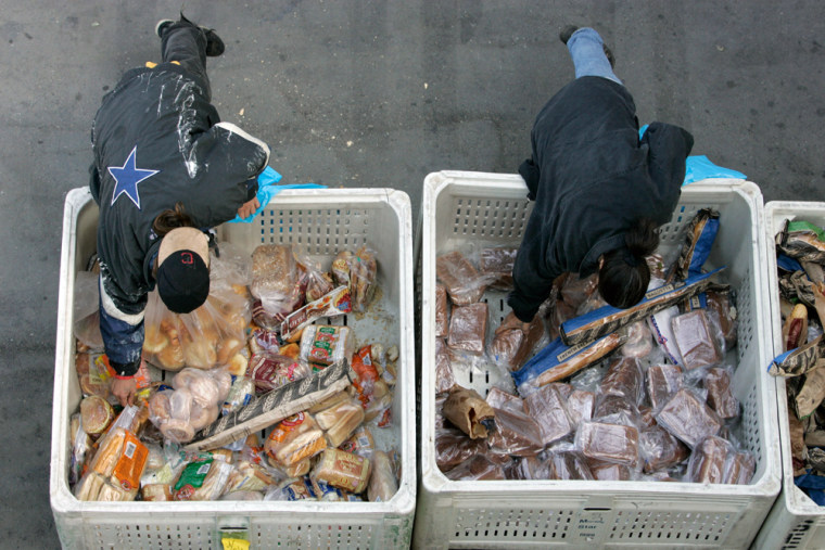 Image: people get food at a food bank