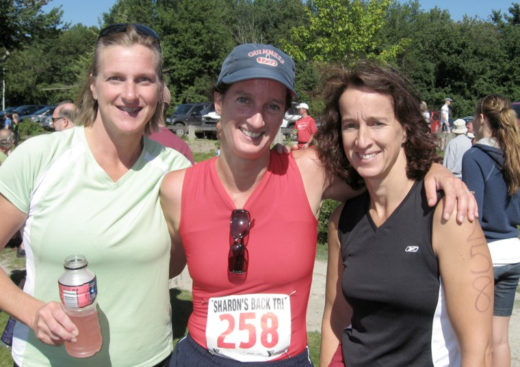 Moira Jrolf, center, pictured with Kelly Tierney, left, and sister Tara O'Leary, completed the Sharon's Back Triathlon in Sharon, Mass., in August 2008. Jrolf, 41, says she's more toned and less bored with exercising since incorporating short-burst interval training into her routine.