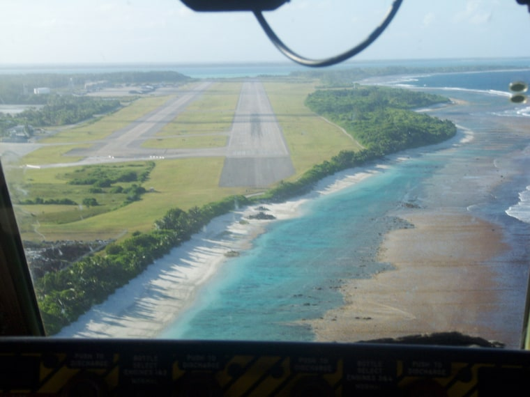 The U.S. military airfield on Diego Garcia, an island in the IndianOcean,is one of many areas vulnerable to rising seas.