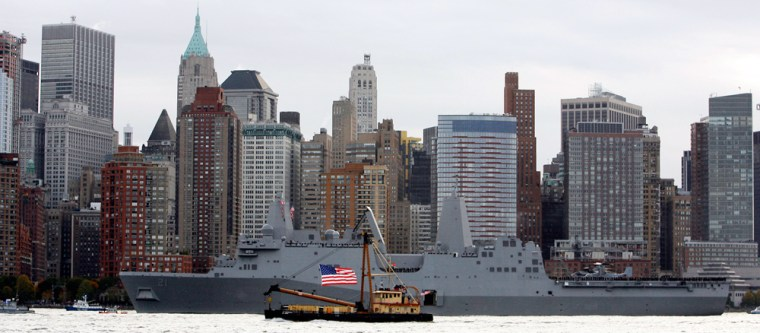 Image: The USS New York sails past Ground Zero as it arrives in New York Harbor