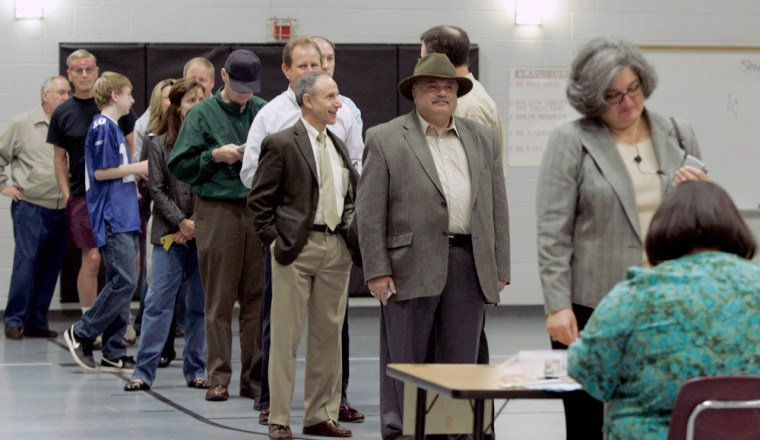 Image: Voters wait in line at a polling place in Glen Allen, Va.