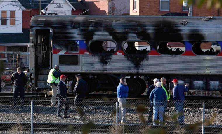 Image: Burned commuter train