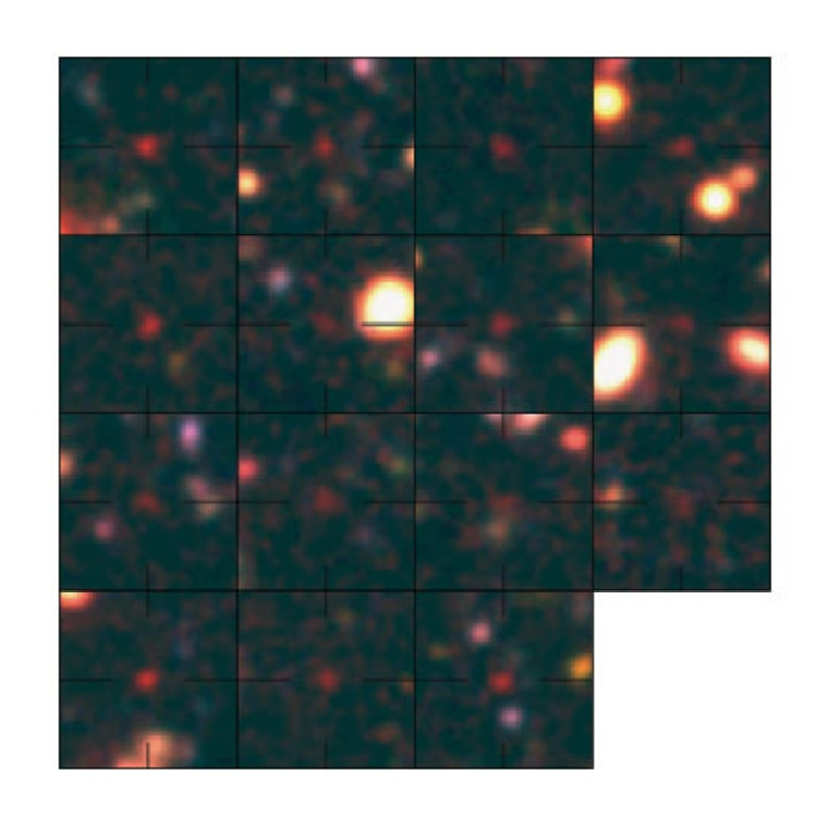 This is a composite of false color images of the galaxies found at the early epoch around 800 million years after the Big Bang. The upper left panel presents the galaxy confirmed in the 787 million year old universe. These galaxies are in the Subaru Deep Field.
