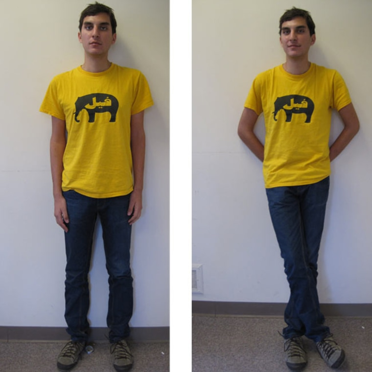 Participants in a study had to look at photos showing a neutral pose (left) and a spontaneous one (right) to judge personality. In the spontaneous photo, the subject's relaxed stance with arms behind his back signal he's emotionally stable, open and likeable, the researchers found.