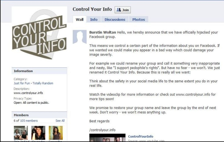 """Image: """"Control Your Info"""" page on Facebook"""