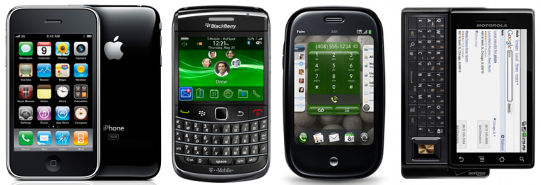 Among the hottest phones of the season are Apple's iPhone (AT&T), the BlackBerry Bold 9700 (T-Mobile), the Palm Pre (Sprint) and Motorola's Droid (Verizon Wireless).
