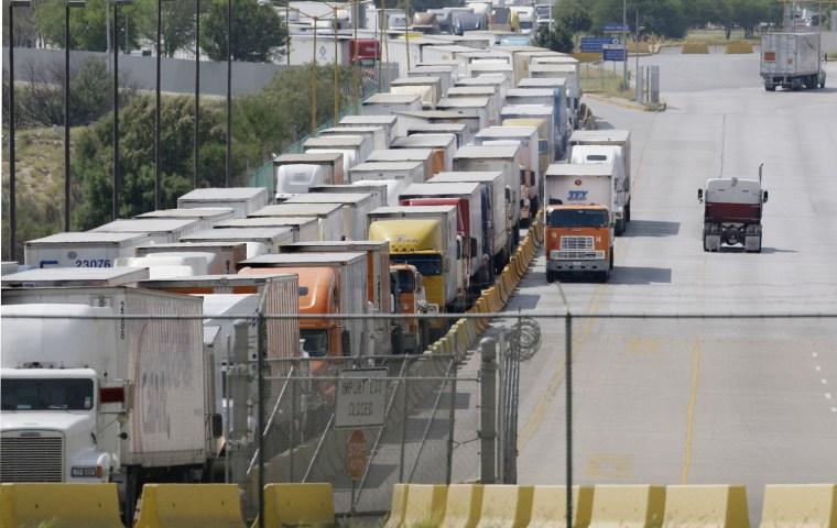 Image:  Trucks at border