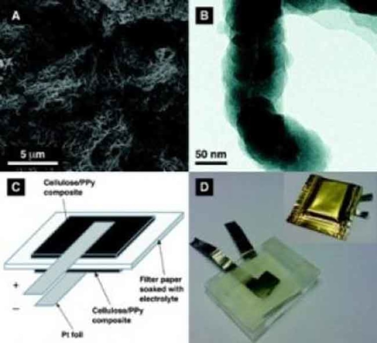 Batteries made of paper may power electronics in the future, researchers say. Shown are images from an experimental paper-based battery.