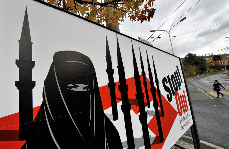 Image: Campaign posters supporting a ban on new minarets in Corseaux, Switzerland
