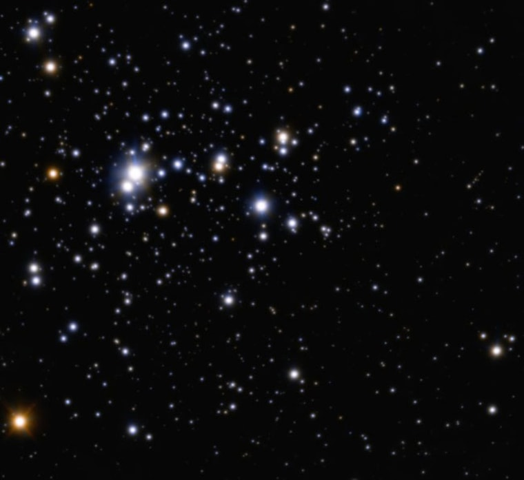 This impressive image of the open cluster known as Trumpler 14 was obtained with the Multi-conjugate Adaptive optics Demonstrator (MAD) mounted on ESO's Very Large Telescope. The cluster resides at the outskirts of the central region of the Carina Nebula, located some 8,000 light-years away towards the constellation of Carina (the Keel).