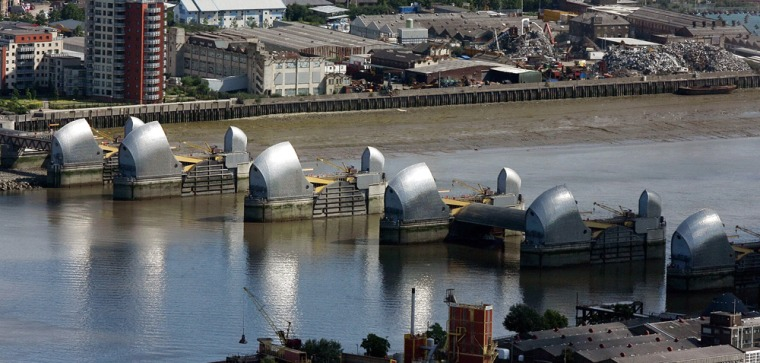 Image: An aerial view of the Thames barrier